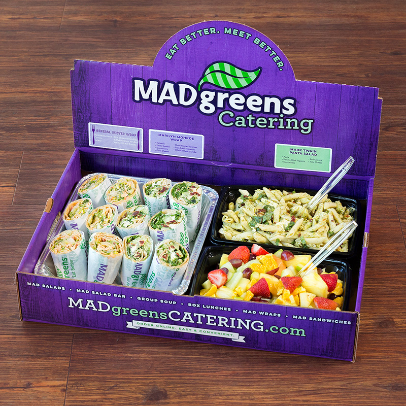 12 half MAD Wraps, 1 Pasta Salad & 1 Fruit Salad